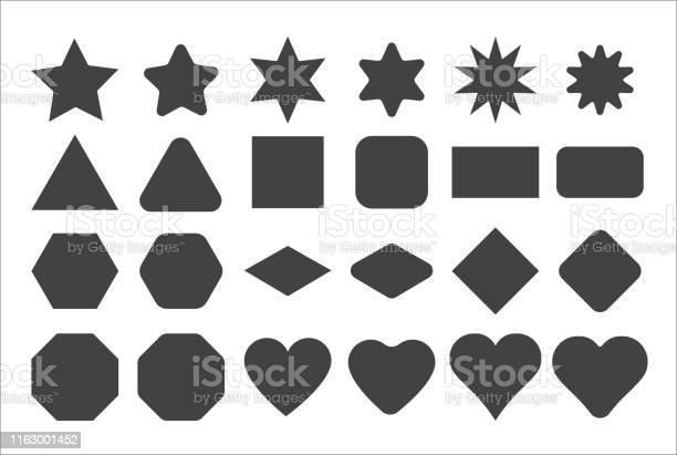 Basic Shape Elements With Sharp And Rounded Edges Vector Set Stock Illustration - Download Image Now