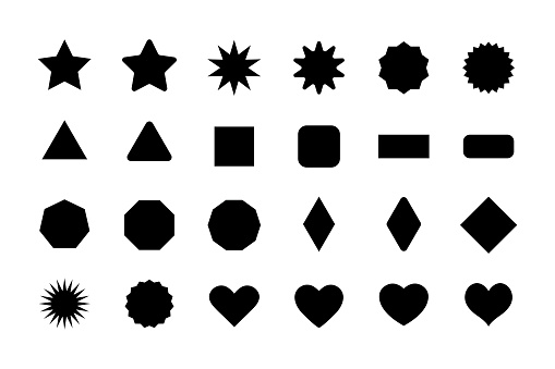 Basic shapes for design. Stars, triangle, hexagon, square, rectangle, heart. Geometric vector elements collection