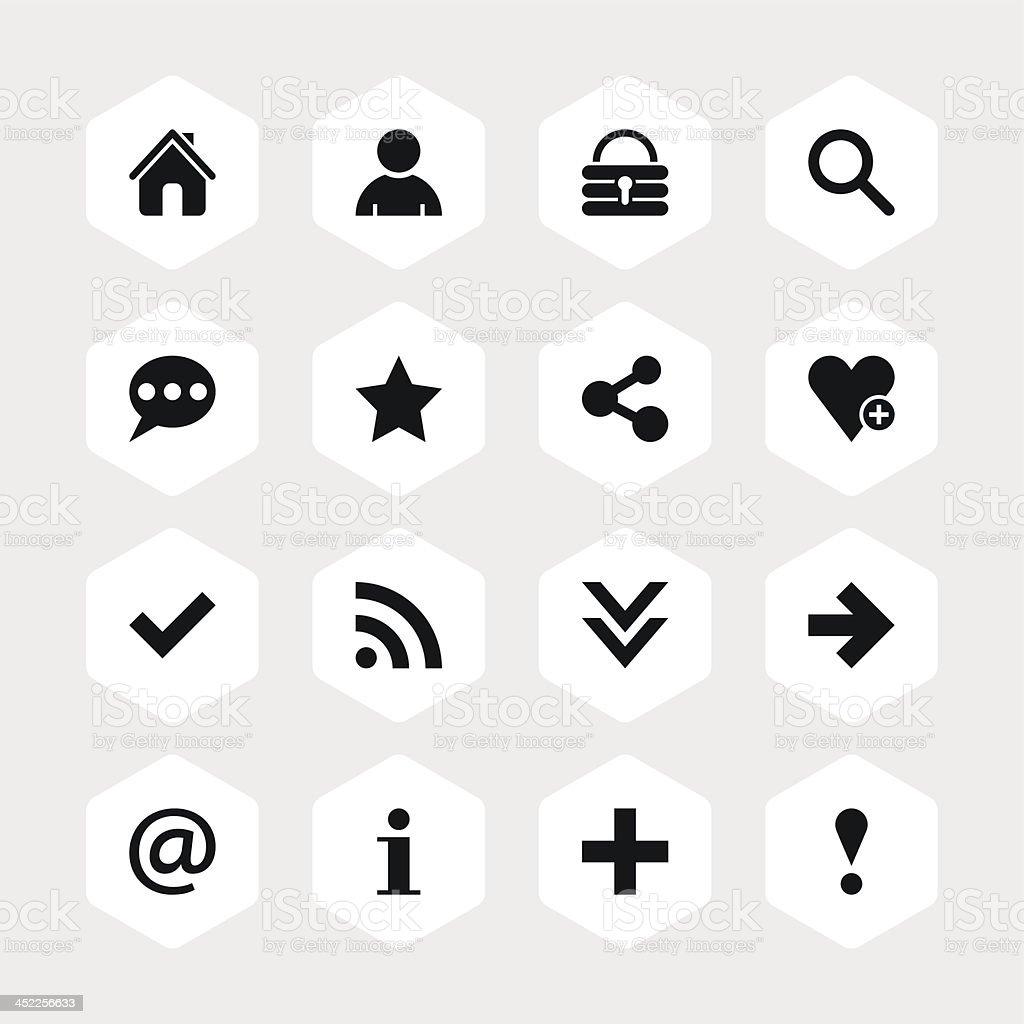 Basic sign black pictogram white icon hexagon button royalty-free basic sign black pictogram white icon hexagon button stock vector art & more images of 'at' symbol