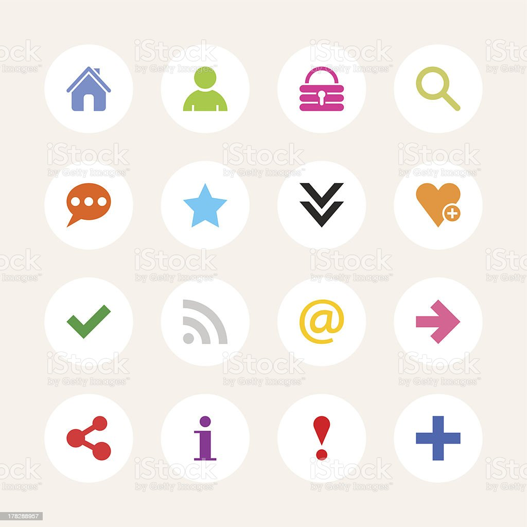 Basic sign white circle button icon flat plain simple style royalty-free basic sign white circle button icon flat plain simple style stock vector art & more images of 'at' symbol