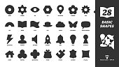 Basic simple glyph shapes icon set with simple silhouette ring, pinion, eye, nut, location, flower, sun, arc, book, flag, hat, cloud butterfly, speech bubble and more black symbols.