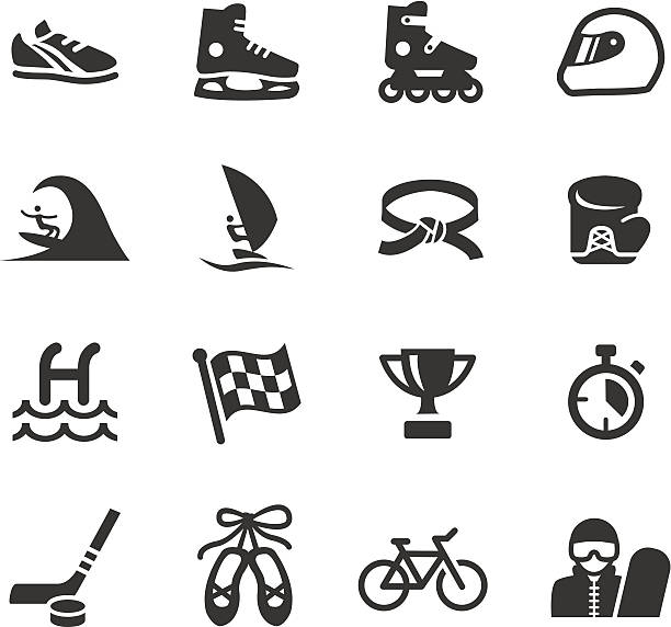 basis-sport-icons - rollschuh stock-grafiken, -clipart, -cartoons und -symbole