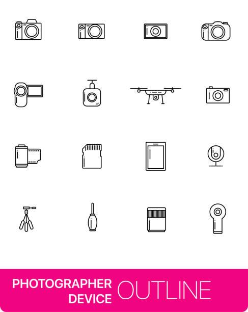 stockillustraties, clipart, cartoons en iconen met de pictogrammen van de fundamentele dunne lijn van fotograaf apparaat. - gopro
