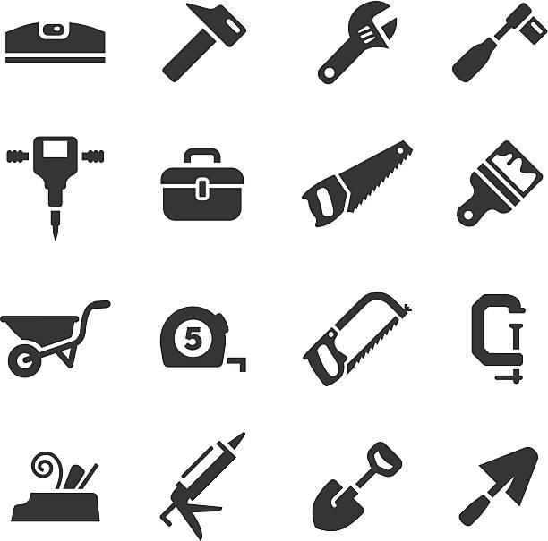 ilustraciones, imágenes clip art, dibujos animados e iconos de stock de basic-iconos de construcción y herramientas - carpintero