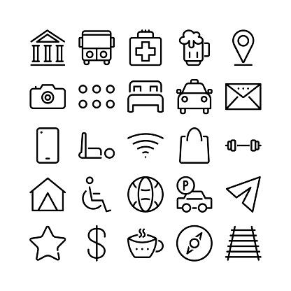 Basic Ui Line Icon Set - Vector Illustration .