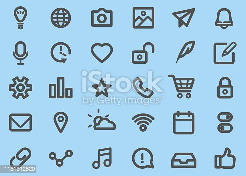 There are 30 icons of Basic UI Thick Line style.