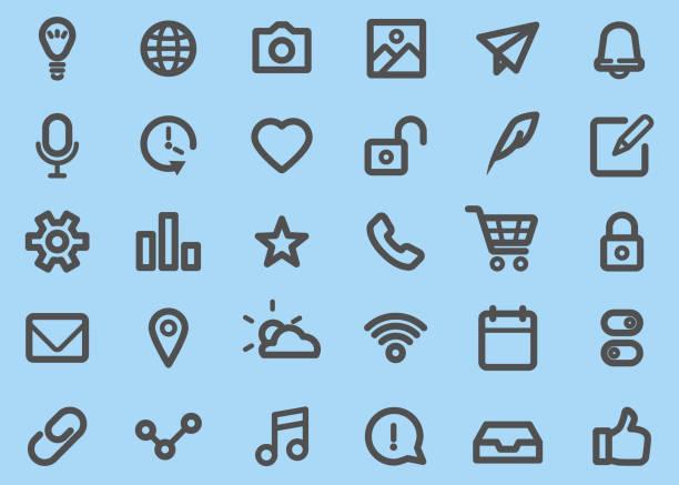 ilustrações de stock, clip art, desenhos animados e ícones de basic ui thick line icons set - grosso