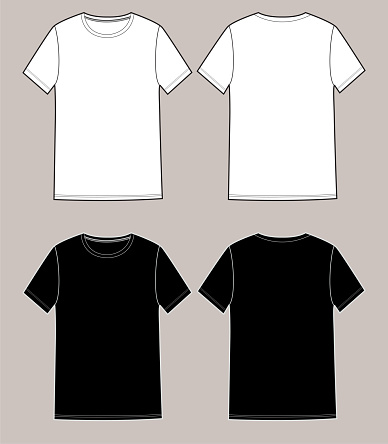 Basic unisex t shirt set.Front and Back. In white and black colors,