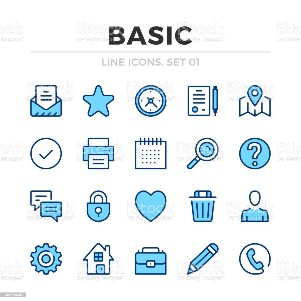 Basic vector line icons set. Thin line design. Outline graphic elements, simple stroke symbols. Basic icons Basic vector line icons set. Thin line design. Outline graphic elements, simple stroke symbols. Basic icons Blue stock vector