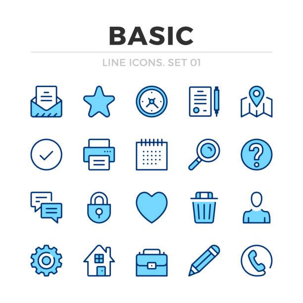 Basic vector line icons set. Thin line design. Outline graphic elements, simple stroke symbols. Basic icons Basic vector line icons set. Thin line design. Outline graphic elements, simple stroke symbols. Basic icons thin line icons stock illustrations