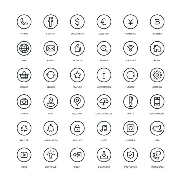 Basic Web Icons Basic Web Icons social media icon stock illustrations