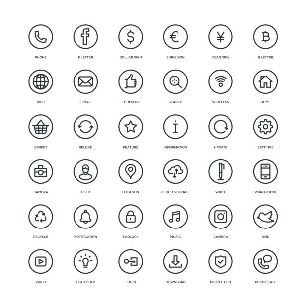 basic web icons - social media stock illustrations