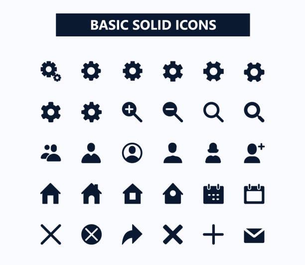 stockillustraties, clipart, cartoons en iconen met basis web vector iconen - vaste stof