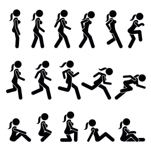 Basic Woman Walk and Run Actions and Movements. vector art illustration