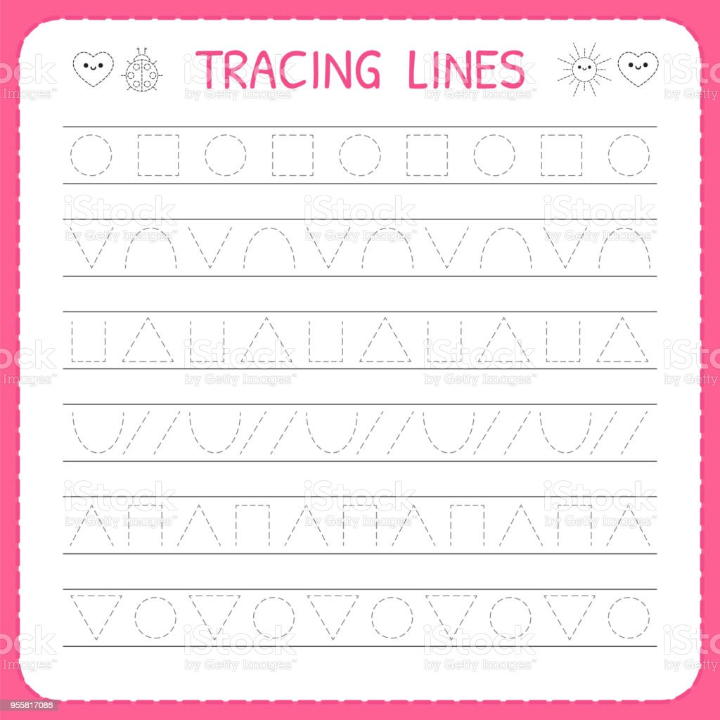 Basic Writing Trace Line Worksheet For Kids Preschool Or ...