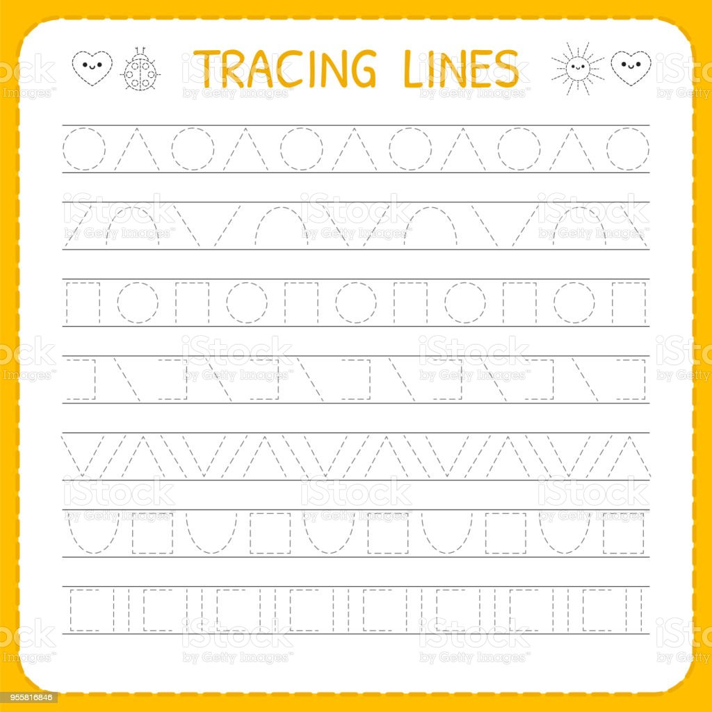 Basic Writing Trace Line Worksheet For Kids Working Pages ...