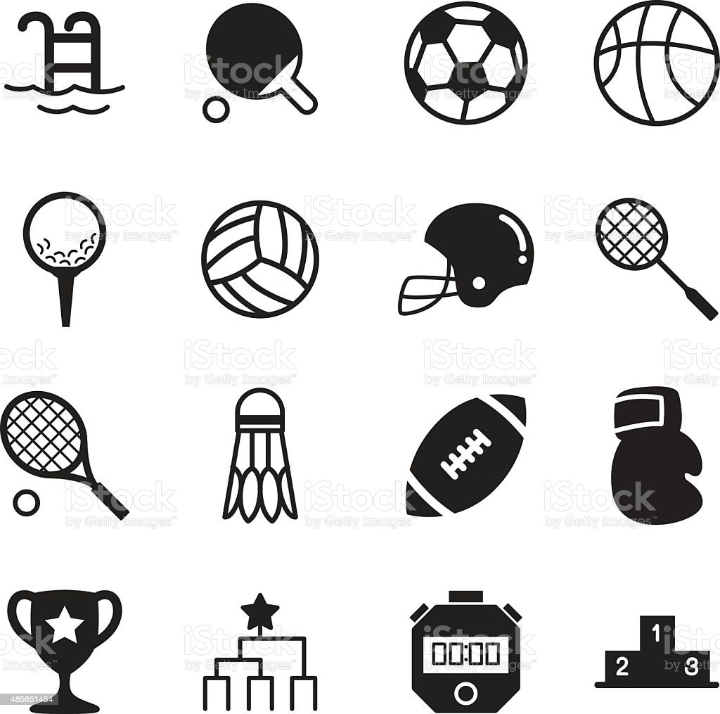 Basics Sports silhouette Icons Vector symbol vector art illustration