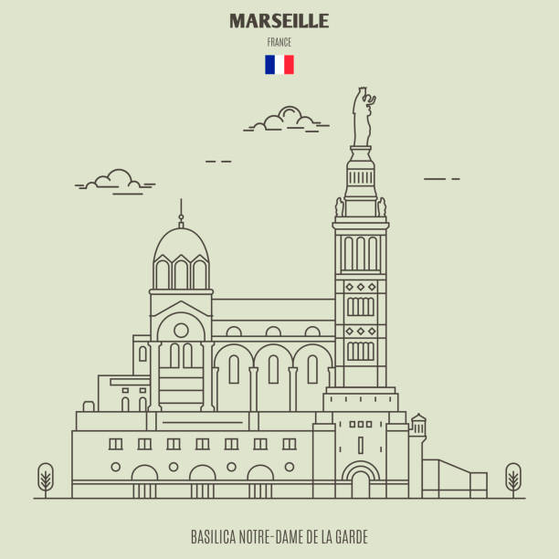 stockillustraties, clipart, cartoons en iconen met basiliek notre-dame de la garde in marseille, frankrijk. landmark pictogram - marseille