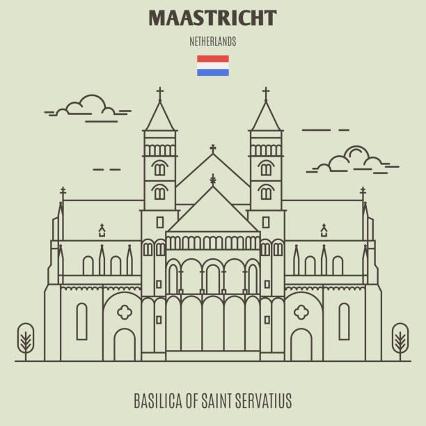 stockillustraties, clipart, cartoons en iconen met basiliek van sint servaas in maastricht, nederland. landmark pictogram - maastricht
