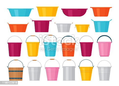 Basin, bucket icons. Plastic, metal, wooden washbowl and pails isolated. Vector. Set water containers for laundry on white background. Flat design.  Colorful cartoon illustration.