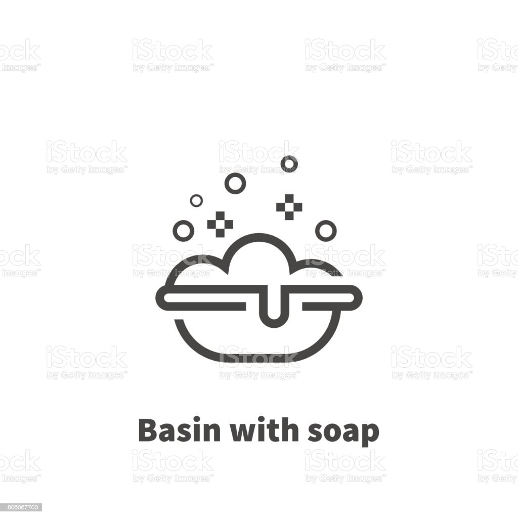 Basin with soap icon, vector symbol in line style isolated on white background. Editable 48x48 pixel perfect. vector art illustration