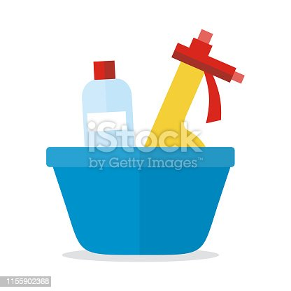 istock Basin with Washing Cleaners. Glass Clean Substance 1155902368