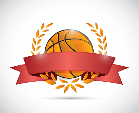 Basket ball laurels and ribbon illustration