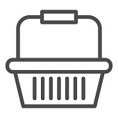 istock Basket for goods line icon, market concept, Shopping cart for purchases sign on white background, Supermarket basket icon in outline style for mobile concept and web design. Vector graphics. 1251424895