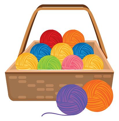 Basket full of colorful yarns