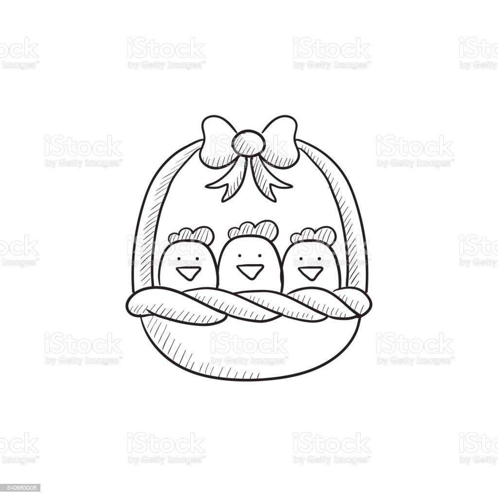 ilustração de cesta cheia de páscoa filhotes desenho de ícone e mais