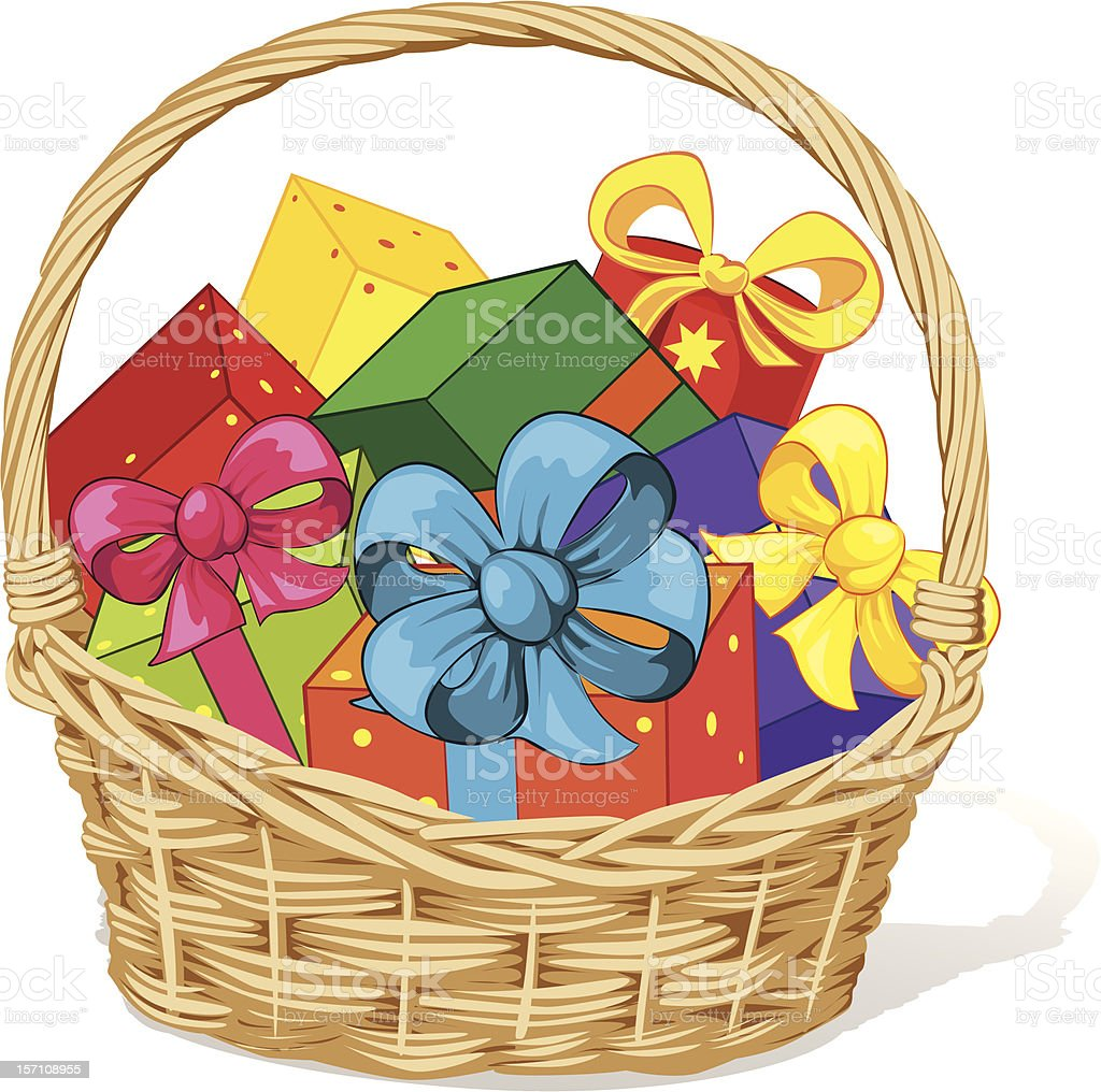 royalty free christmas gift baskets clip art vector images rh istockphoto com gift clipart b&w gift clip art images free