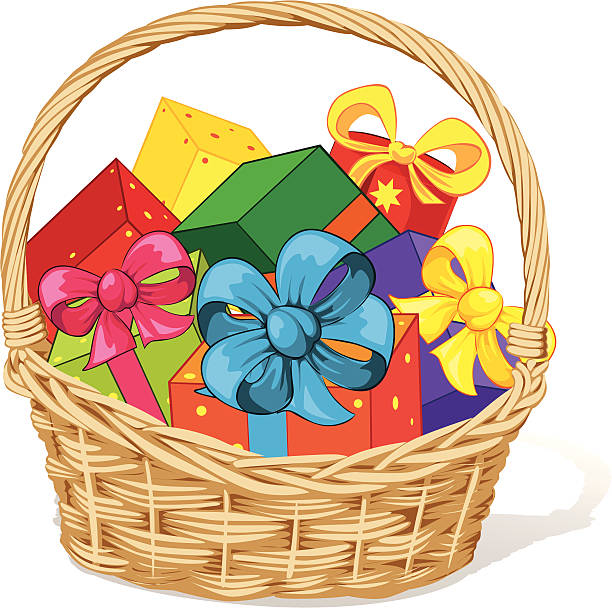 Royalty free christmas gift basket clip art vector images