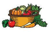 vector of basket full of vegetables
