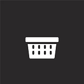 basket icon. Filled basket icon for website design and mobile, app development. basket icon from filled laundry collection isolated on black background.