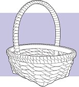 Vector line art of a basket on a light purple background.