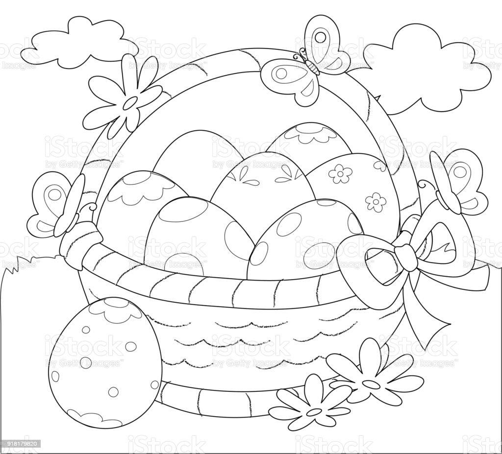 Cesta Decoración Huevos De Pascua Para Colorear - Arte vectorial de ...