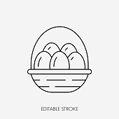 Basket of eggs. Editable stroke