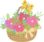 Basket of flowers with butterfly vector illustration isolated on white background.