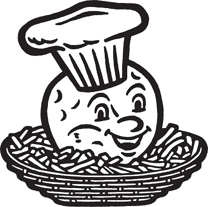 Basket of French Fries and Smiling Hamburger Chef