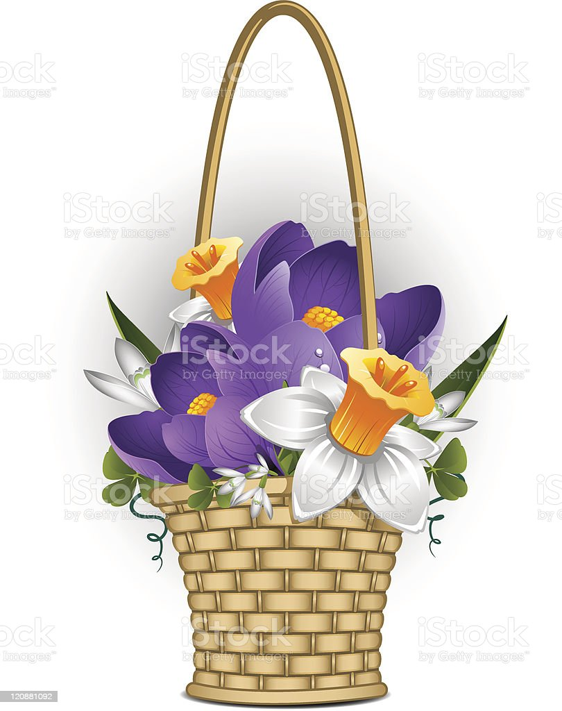 Basket Of Spring Flowers Stock Vector Art More Images Of Basket