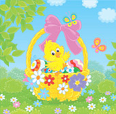 Small cute chicken and colored eggs in a basket decorated with a pink bow among colorful flowers and flittering butterflies on a sunny spring day, vector illustration in a cartoon style
