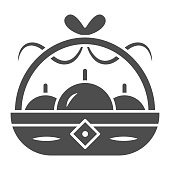Basket with apples solid icon, chinese mid autumn festival concept, harvest sign on white background, fruit basket from china icon in glyph style for web design. Vector graphics