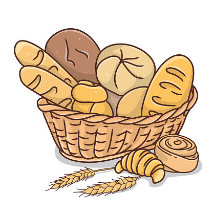 Basket with bakery products on white background.