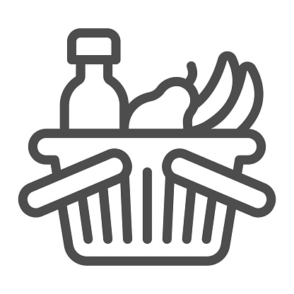 Basket with bottle and fruits line icon, Black Friday concept, shop basket sign on white background, shopping basket with fresh food and drink icon in outline style. Vector graphics.