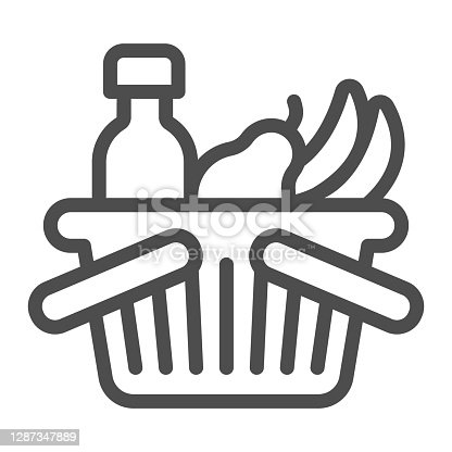 istock Basket with bottle and fruits line icon, Black Friday concept, shop basket sign on white background, shopping basket with fresh food and drink icon in outline style. Vector graphics. 1287347889