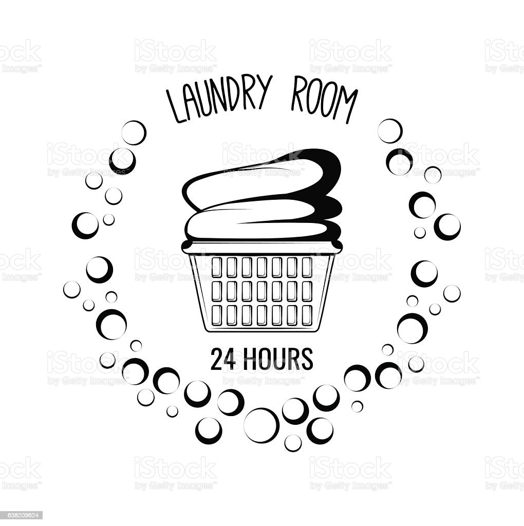 Basket With Clothes Laundry Room Vintage Label Badge Royalty Free