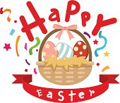 illustration of basket with easter eggs vector