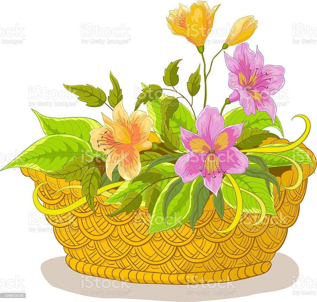 Cesta con flores alstroemeria - ilustración de arte vectorial