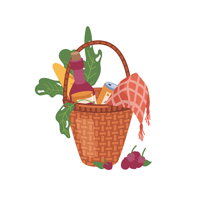 Basket with food and drinks isolated flat cartoon icon. Vector wicker container with green leaves, checkered napkin and bottle of wine, canned beer or soda and bread bakery, fruits and berries