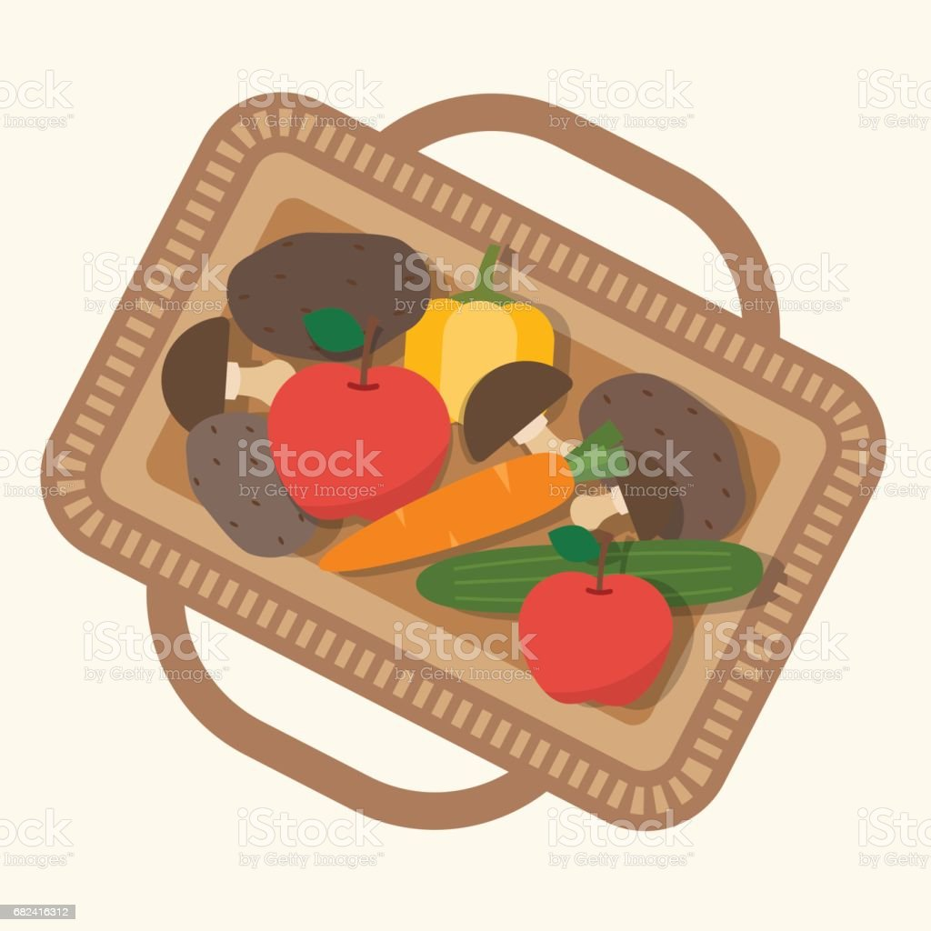 Basket with food, fruits and vegetables. royalty-free basket with food fruits and vegetables stock vector art & more images of agriculture